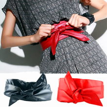 Sale High Quality 2017 Fashion Women Soft Leather Wide Waist Belts Bow for Dress Clothes Accessories 10 Colors(China)