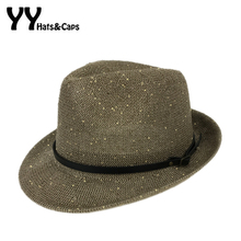 New Knited Fedoras Hats for Women Sequins Dance Hats Vintage Trilby Caps For Men Summer Sunhats Cool Panama Hats Chapeu YY170002(China)