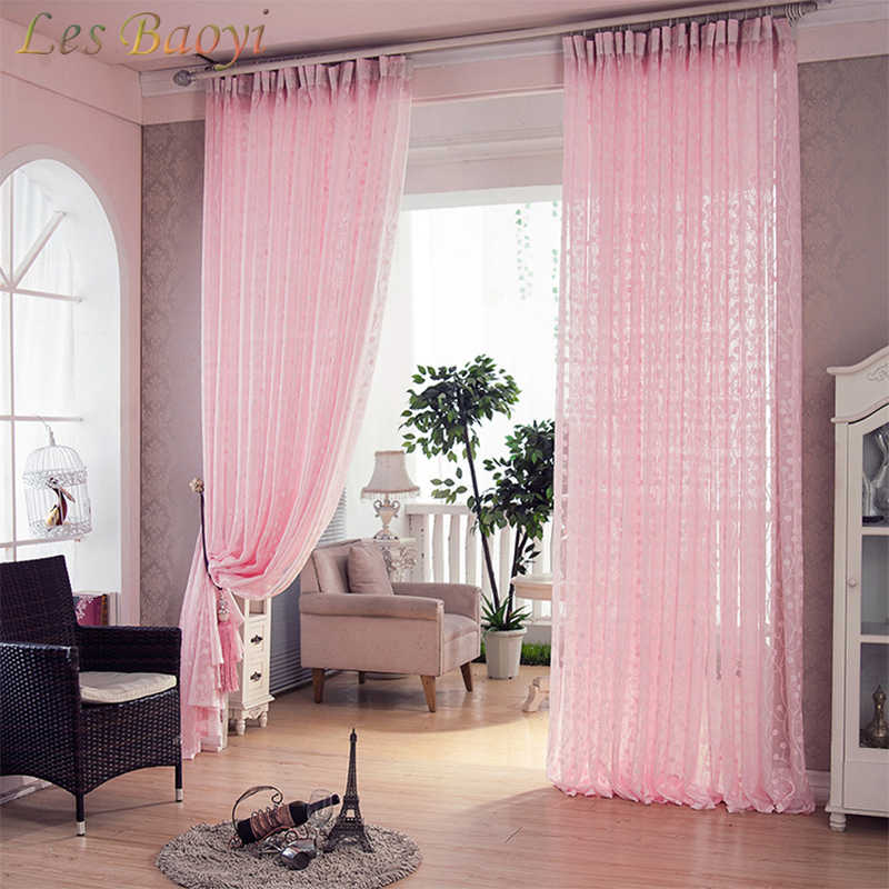 Les Baoyi Fashion Pastoral Tulip Scarfs Sheer Voile Window Screening Tulle Pink Jacquard Curtains for Living Room Sheer Curtain