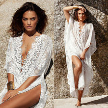 Summer style Women Sexy Swimsuit Cover Up Swimwear Bikini Cover Ups Flower Split Beach summer Dress 2016 Robe Vestidos(China)