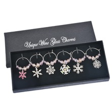 Christmas Decoration Crystal Christmas Snowflake Pendants Wine Glass Charms Christmas Dinner Wedding Favor Table Decoration 1Box(China)