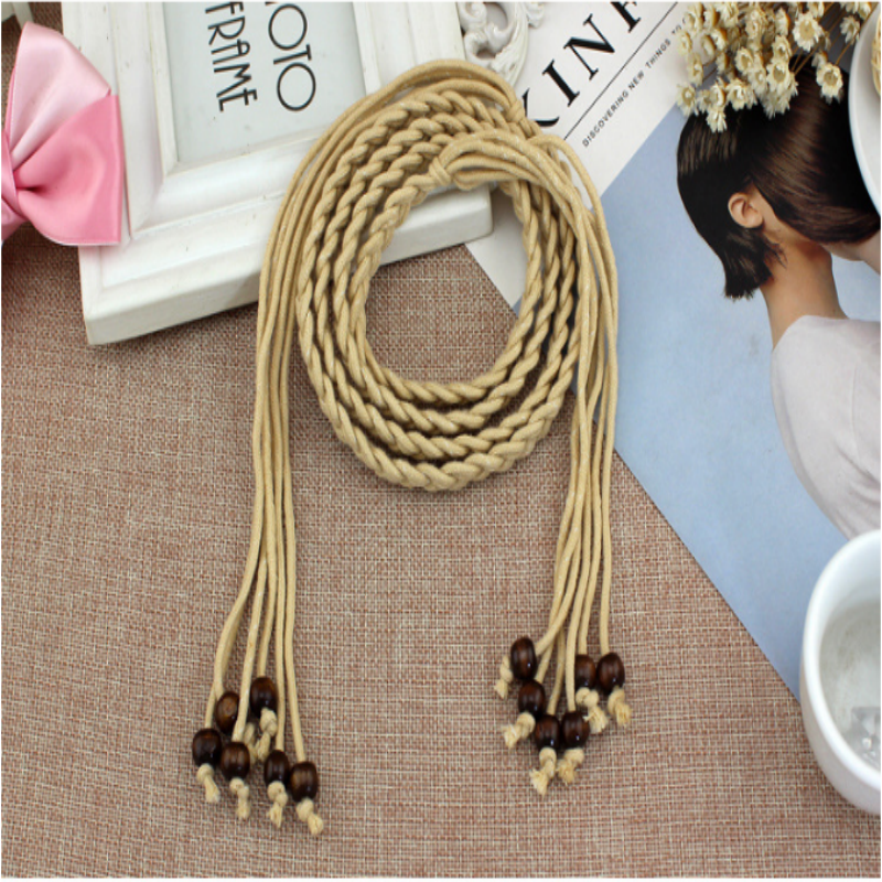 Fashion Weave Thin Leather Belt Waist Chain Women Girls Decoration Small Dress Casual Gift Woman Knotted Rope Skirt White