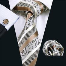 FA-905 Mens Ties Brown Stripe Tie Hanky Cufflink Set Men's Business Gift Ties For Men Free Shipping(China)