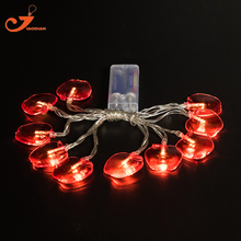 Red Crystal Apple String Lights Fairy Christmas Light Food Fruit 10 led lighting home Decoration battery indoor garland lamps(China)