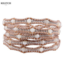 KELITCH Bohemia Summer Jewelry Handmade High Quality Cool Multilayers Seed Beads Stone Wrap Cuff Bracelets For Women Gifts(China)