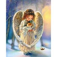 5d Diy Алмаз Живопись вышивка Крестом наборы Алмаз Вышивка 3d Алмаз мозаики Смолы Ангел Портрет в подарок(China)