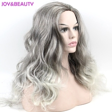 JOY&BEAUTY Hair Women Wig Brown and Silver White Long Wavy Synthetic Hair Cosplay wig Heat Resistant Hair 60cm(China)