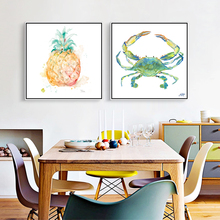 Modern Watercolor shell , fruit , A crab , Canvas Art Print Poster Nordic Wall Picture Home Decor Painting No Frame