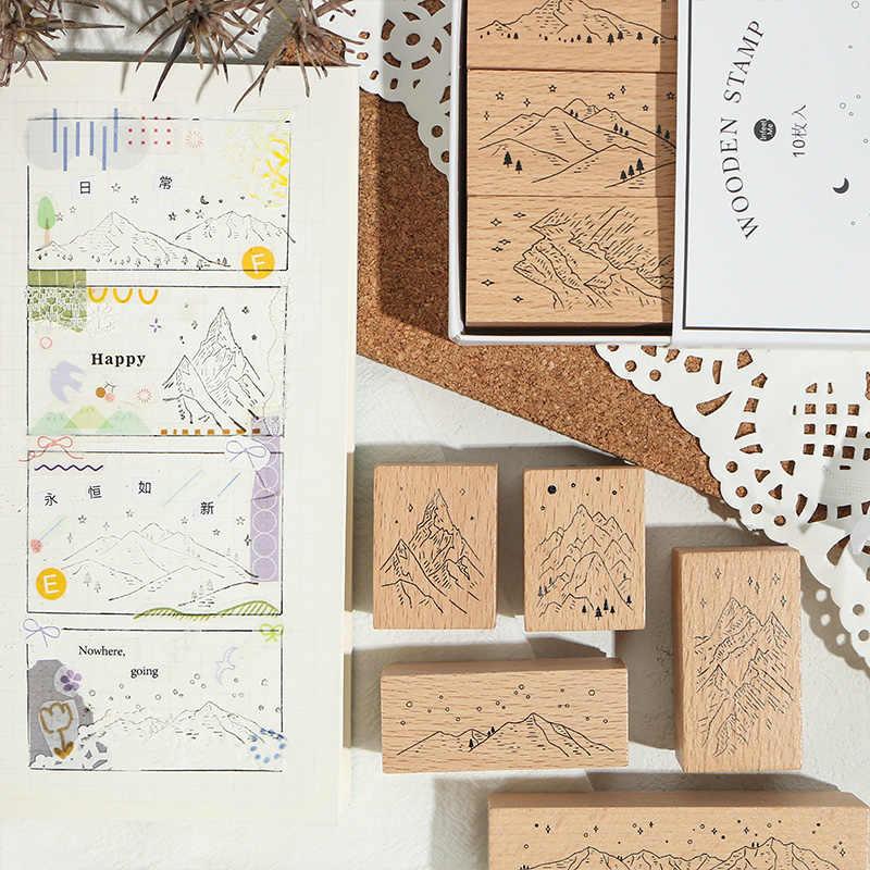 60pcs Cute Wooden Rubber Stamp DIY Diary Craft Card Making Scrapbooking Stamp Set