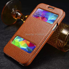 Genuine Cow Leather Case with Encysted and Open Window Design for Samsung Galaxy S V 5 G900, 6 Colors, Free Shipping
