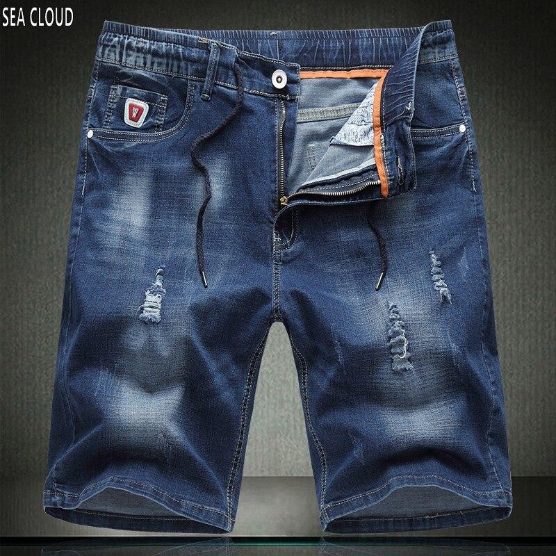 Sea Cloud Free shipping Plus size summer high quality elastic straight jeans shorts knee-length elastic waist short trousersÎäåæäà è àêñåññóàðû<br><br>