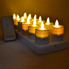 Realistic Dancing Flame Rechargeable LED Tea Light Candle Remote & Timer Flameless Tealight with Amber Warm Light