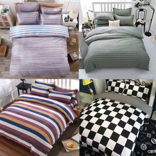 Gray Striped Simplicity 4Pc Twin/Full/Queen/King Size Bedding Quilt/Duvet/Doona Cover Set&Sheet Shams White Black Plaid Checked