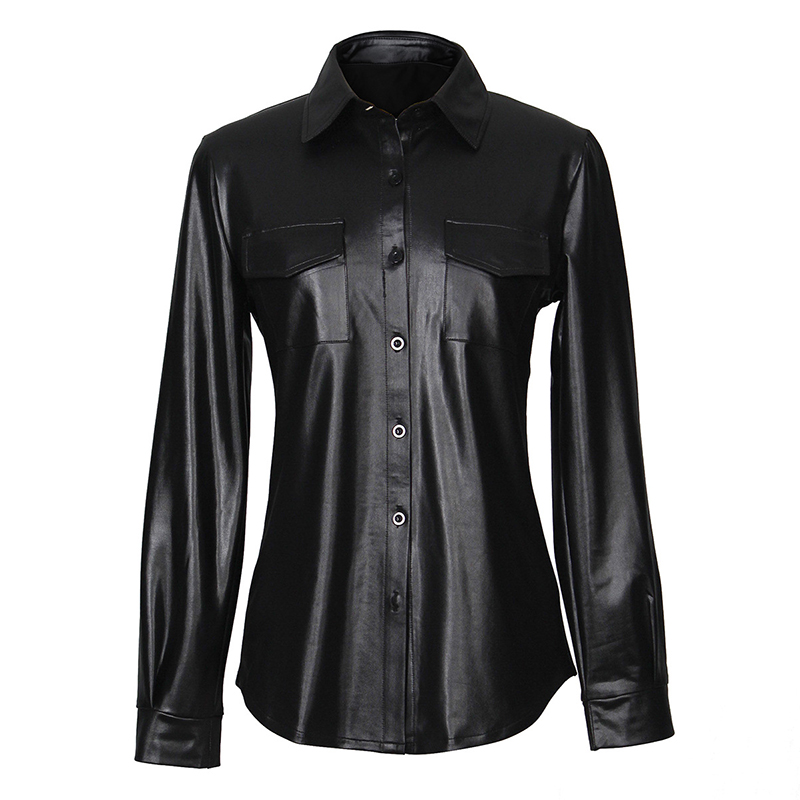 Kostlich Sexy Pu Leather Long Sleeve Blouse Women Shirts Fashion Spring Autumn Women Tops Black Red Ladies Blouses Casual Shirt (24)