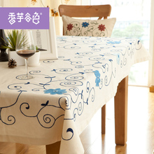 Chinese Handmade Embroidered Tablecloth Blue Flowers Table cover white Tablecloth