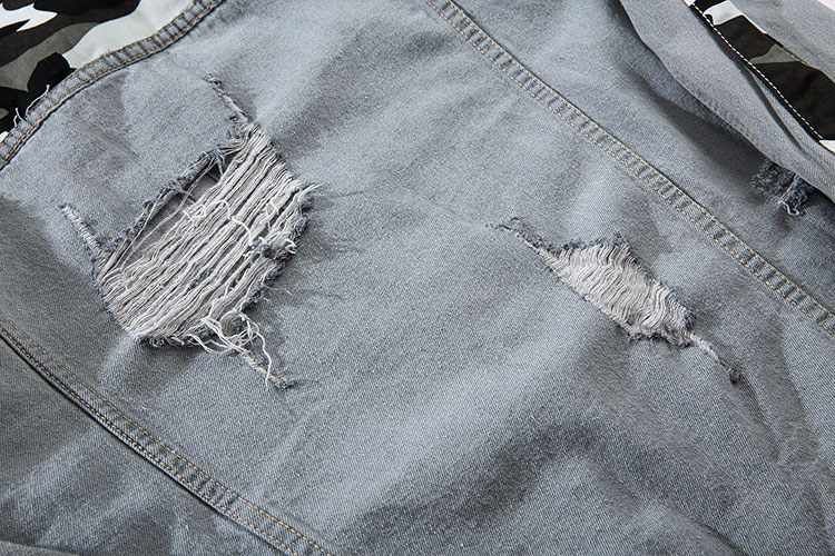 Camouflage Patchwork Ripped Denim Jacket 9