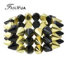FANHUA Hip Hop Jewelry Fashion Punk Style Spike Elastic Bangles and Bracelets New Summer Style