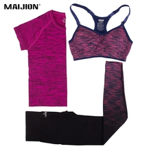 MAIJION Women Running Sets Yoga Bra&Tops &Pants Sport Suit Quick Dry Fitness Gym Yoga Set Workout Sportswear Running Clothing(China)