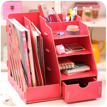 Creative DIY Wooden Desktop File Magazine Holder Book Shelf Large Multi-layer Book Storage Rack