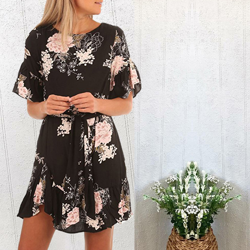 Lossky Summer Women Beach Dress 2018 Bohemian Floral Print Boho Dress O-Neck Short Sleeve Ruffle Mini Chiffon Dress With Belt 28