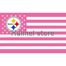 3ftx5ft Pittsburgh Steelers flag decoration flag with pink USA stipe flag(China)