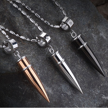 Fashion men jewelry stainless steel bullet pendants necklaces cool male accessories rose gold necklace friendship gift colar