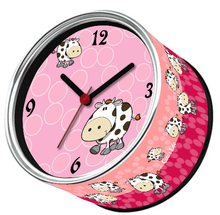 By ePacket Pink Cow Animal Digital Metal Table Clocks Desktop Tin Round Clocks Magnetic in Kitchen Wall Clocks