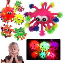 2017 LED Light Squeeze Anti Stress Toys Autism Flush Snowflake Hair Flash Ball 5 Inch Fiddle Elasticity Funny Toys For Children(China)