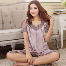 2017 Summer Women Satin Lace Pajama Sets Short Sleeve Sleepwear Set Two-pieces Big Size V-neck Breathable Pyjamas 4 colors Cheap