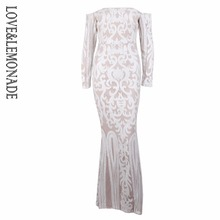 Love&Lemonade Sexy White strapless collar geometric figure sequined Maxi dress LM0635(China)