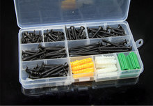 170Pcs Black Furniture woodworking Flat cross tapping drywall screws expansion bolt kit set DIY M3.5 Hardware Wholesale