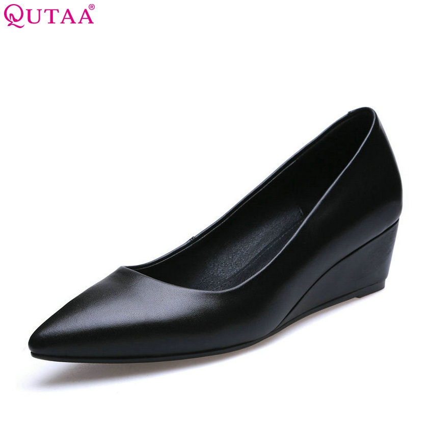 QUTAA 2018 Women Pumps Fashion Wedges Heel Women Shoes Genuine Leather + Pu Shallow Slip on Pointed Toe OL Pumps Szie 34-39<br>