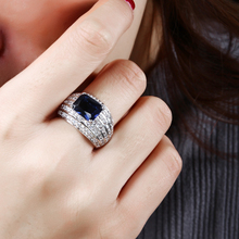 2017 new Costume jewelry ring supplies setting big Square Green, Blue and Clear Sparkly CZ Rings for women