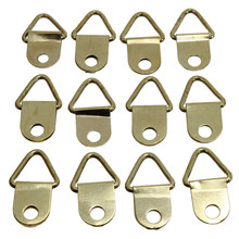 universal Strong Golden 50pcs D Rings Decor Picture Frames Hanger Hooks Hanging Triangle Screws Helper High Quality(China)