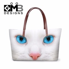 White Cat carry on handbag for Girls Animal summer hand bags Dog large tote bags Nice Over the Shoulder bag for Women beach bag