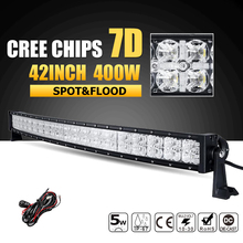 Oslamp 42inch 400W CREE Chips 7D Curved LED Light Bar Combo Beam Led Work Light 12v 24v ATV Truck SUV 4x4 4WD Offroad Led Bar