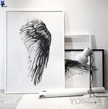 Nordic Style black and white wing Canvas Art Print Painting Poster, picture Wall Pictures for rome Home Decoration, Wall Decor(China)