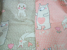 Pretty Pink & Light Brown Cartoon Happy Animals Bear Fox Rabbit 100% cotton twill cotton Fabric quilting home decor patchwork te