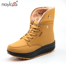 MAYLOSA Women Snow boots Winter Ankle Boots Heighten Swing Shoes Woman Casual Plush Solid Round Toe Platform Shoes Lady   Boots
