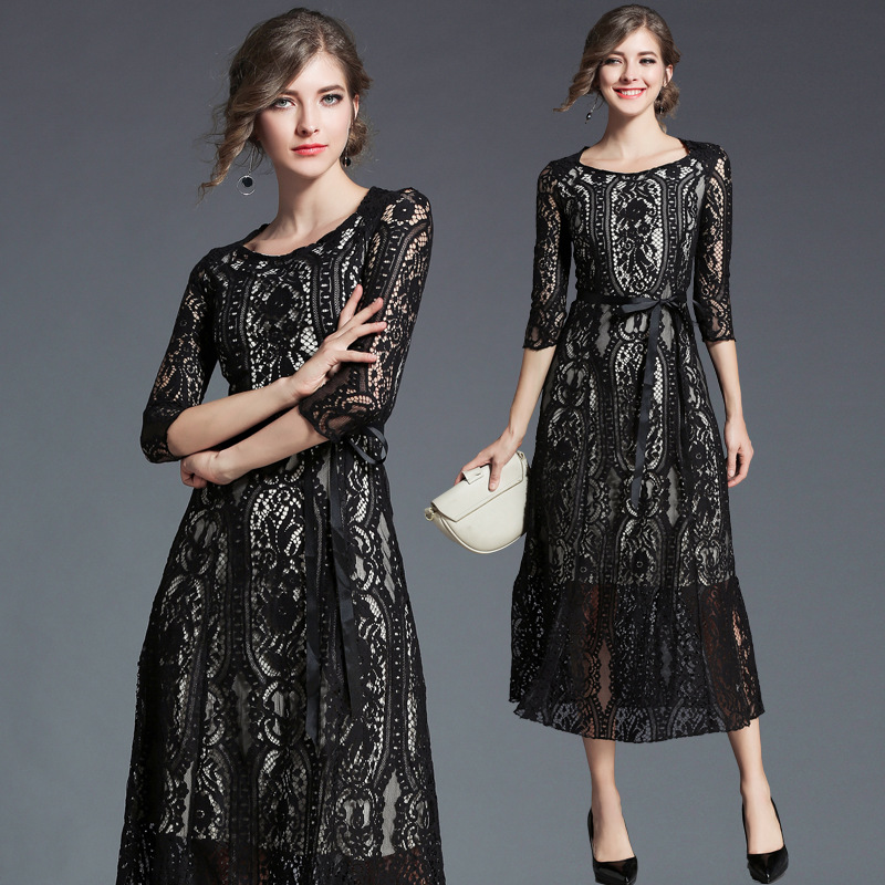 Black Flower Print Lace Dress 2018 Spring Women Fashion Elegant Hollow Slim Sexy Ladies Casual Party Dress Vestidos H94722