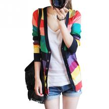 2017 spring/fall colorful stripes sweater cardigan casual loose knitwear Pullover Cardigans Jacket free size