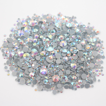 Hot Mix Size Rhinestones 2500pcs/lot Shiny CrystalAB Color Strass Stones And Crystals Flatback Hotfix Rhinestone For Clothes(China)