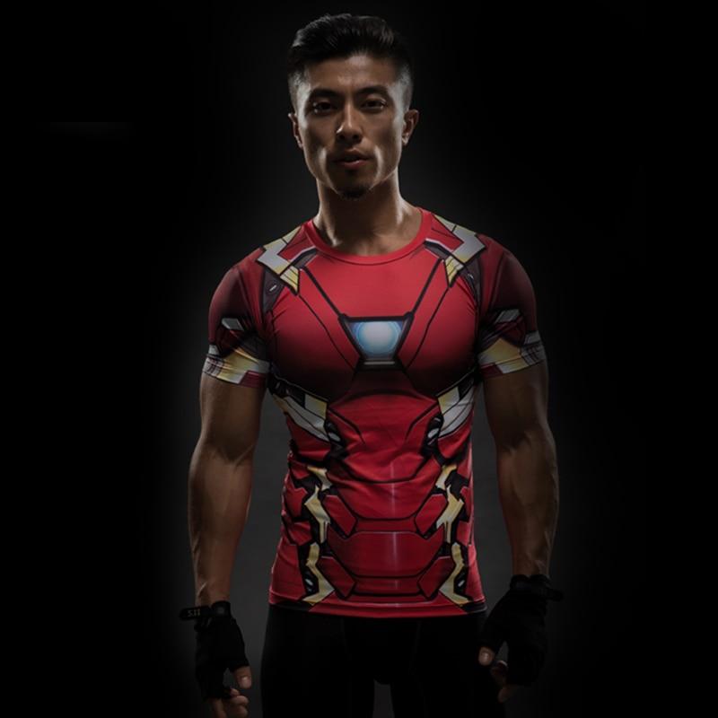 Short Sleeve 3D T Shirt Men T-Shirt Male Crossfit Tee Captain America Superman tshirt Men Fitness Compression Shirt Punisher MMA 40