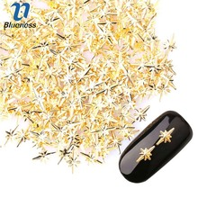 1Pack 3D New Arrival Charm Nail Art Decoration Studs Japanese Rivet Style Gold Alloy Star Anise Design Nail Supplies PJ450