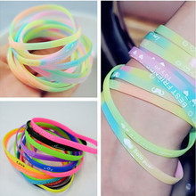 10 Pcs/ Lot Silicon letter Print Bracelet Unisex Wristband Kids Elastic Rubber Kids Bracelet(China)