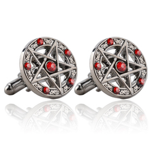 Classic Movie Series New Arrival Fashion Antique Silver Pentagram Cufflinks Red / Black Crystal 2017 Vintage Metal Cuff Links