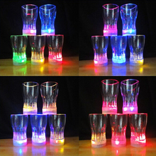 24pcs/lot 2015 New attractive cups led glowing party glasses supplies,plastic led party lights cup with battery