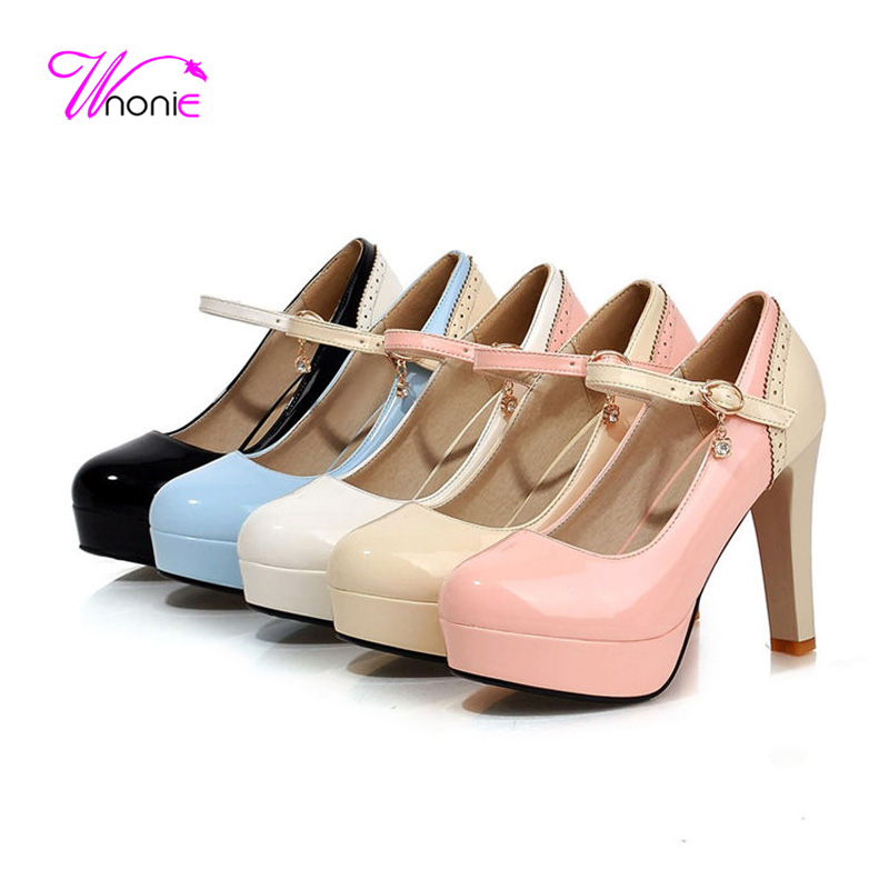 2017 Women Pumps Ankle Strap Thick High Heels Round Toe Platform Patent Leather Patchwork Spring Autumn Party Dress Ladies Shoes<br><br>Aliexpress