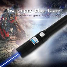 Super High Power Blue Laser pointer  Burning Laser Pointer Pen 5000mw burn cigars plastic papers greatest laser beam