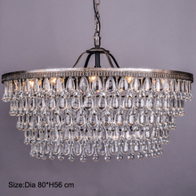 Retro Clarissa Glass drops LED crystal chandeliers lamp for dining/bedroom/big french empire style Restoration Hardware lighting